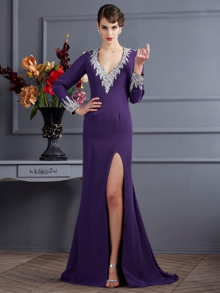 Sheath/Column Long Sleeves V-neck Chiffon Sweep/Brush Train Dresses with Beading
