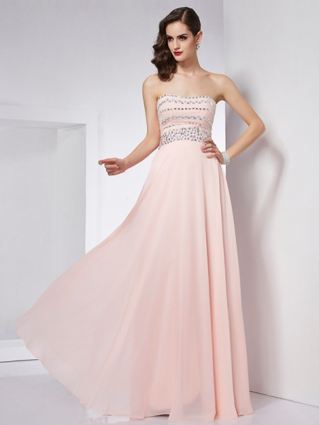 A-Line/Princess Strapless Sleeveless Floor-Length Chiffon Dresses with Beading