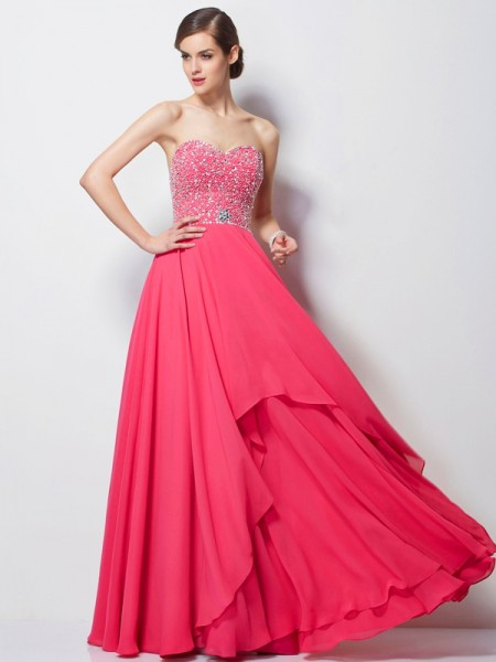 A-Line Sweetheart Sleeveless Chiffon Long Evening/Prom/Formal Dresses with Beading