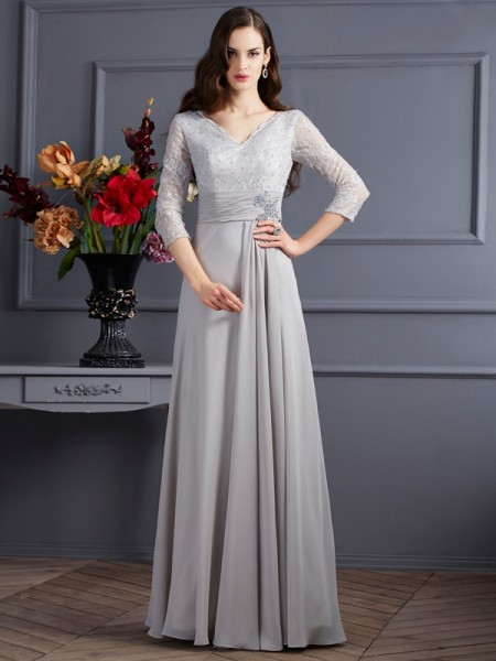 A-Line/Princess Chiffon V-neck 3/4 Sleeves Long Dresses with Applique