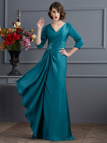 A-Line/Princess V-neck 3/4 Sleeves Floor-Length Chiffon Dresses with Beading