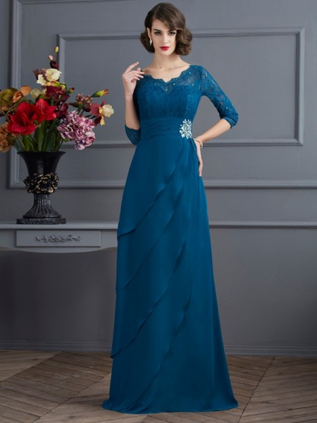 A-Line/Princess V-neck 3/4 Sleeves Floor-Length Chiffon Dresses