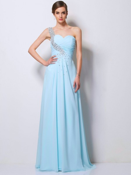 A-Line/Princess One-Shoulder Sweep/Brush Train Chiffon Dresses with Beading