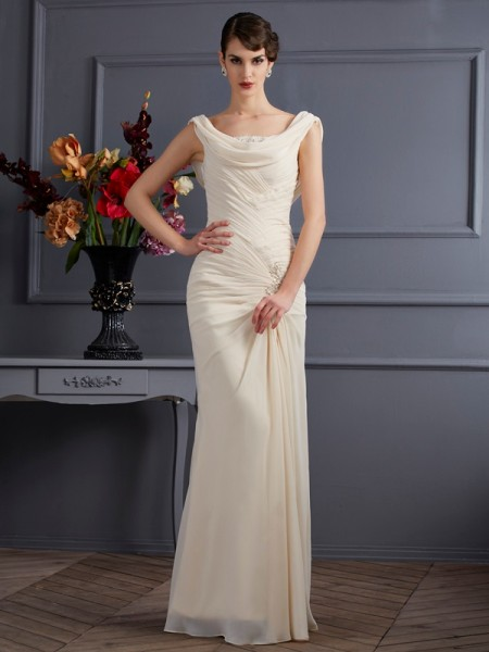 Column Sleeveless Scoop Floor-Length Chiffon Dresses with Beading