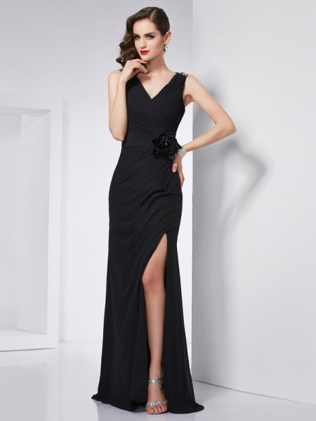 Sheath/Column V-neck Sleeveless Chiffon Long Prom/Evening Dresses with Beading