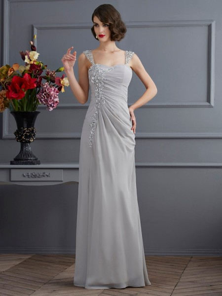 Trumpet/Mermaid Straps Sleeveless Chiffon Long Dresses with Beading