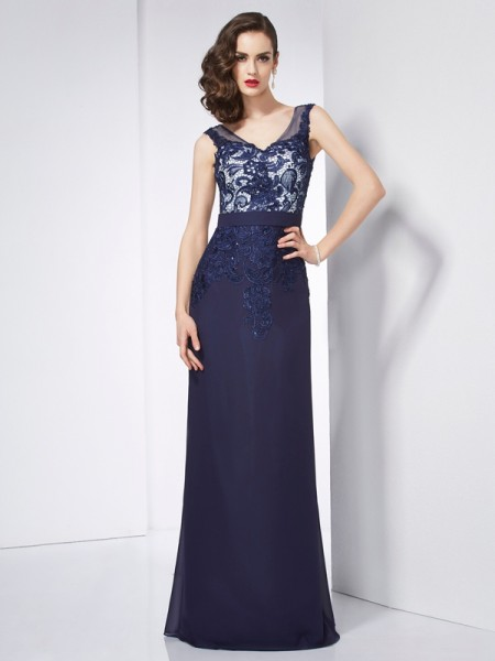 Sheath/Column V-neck Sleeveless Floor-Length Chiffon Prom/Evening Dresses with Applique with Beading