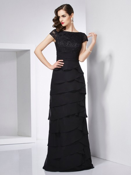 Sheath/Column Short Sleeves Chiffon Scoop Long Dresses