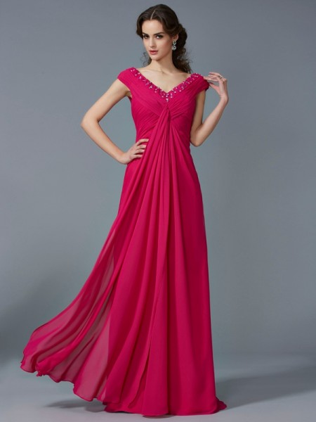 A-Line/Princess V-neck Short Sleeves Floor-Length Chiffon Prom/Evening Dresses with Beading