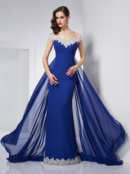 Trumpet/Mermaid Off-the-Shoulder Sleeveless Chiffon Long Dresses with Applique
