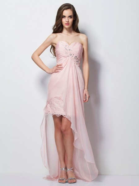 A-Line/Princess Sweetheart Sleeveless Chiffon Asymmetrical Dresses with Applique with Beading