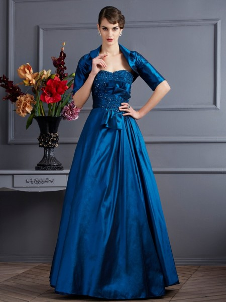 A-Line/Princess Sleeveless Sweetheart Taffeta Dresses with Applique