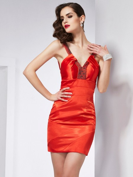 Sheath/Column V-neck Sleeveless Elastic Woven Satin Short/Mini Dresses with Beading