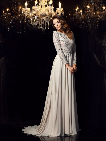 A-Line/Princess Long Sleeves Scoop Chiffon Court Train Dresses with Beading