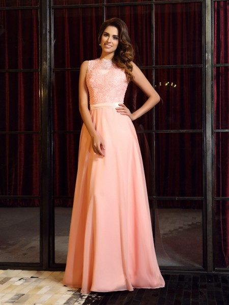 A-Line/Princess Sleeveless High Neck Sweep/Brush Train Chiffon Dresses with Applique