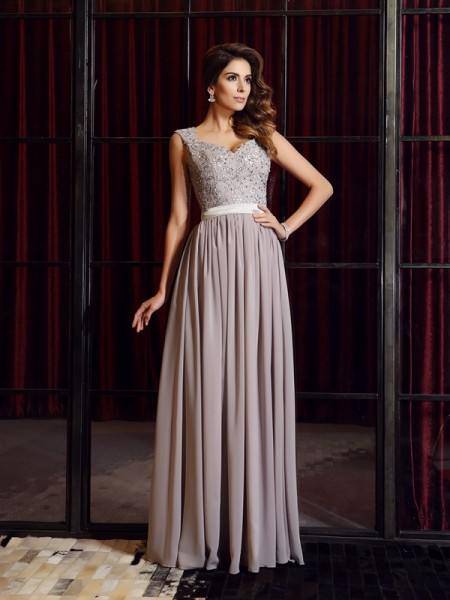 A-Line/Princess Straps Sleeveless Chiffon Floor-Length Dresses with Applique