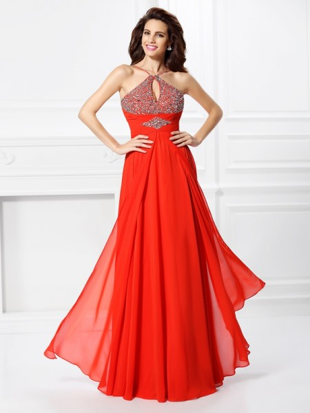 A-Line/Princess Sleeveless Floor-Length Chiffon Dresses with Beading