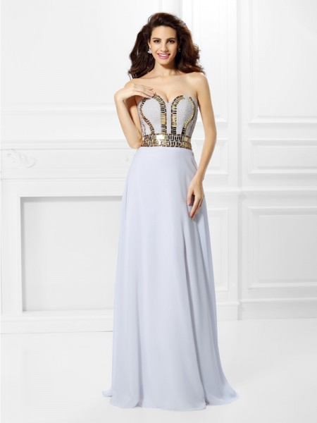 Empire Sweetheart Sleeveless Floor-Length Chiffon Dresses with Pleats