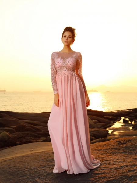 A-Line/Princess Long Sleeves Bateau Sweep/Brush Train Chiffon Dresses with Beading