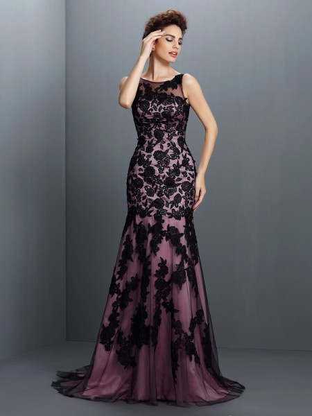 Trumpet/Mermaid Bateau Sleeveless Sweep/Brush Train Elastic Woven Satin Evening/Formal Dresses with Applique