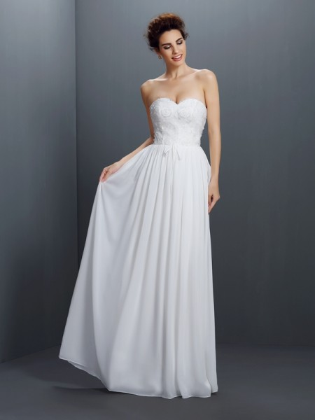 A-Line/Princess Sweetheart Sleeveless Lace Floor-Length Chiffon Dresses