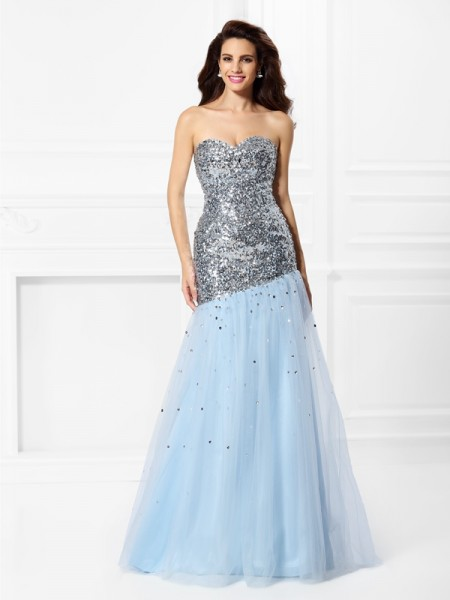 Trumpet/Mermaid Sweetheart Sleeveless Sequin Floor-Length Satin Prom Dresses