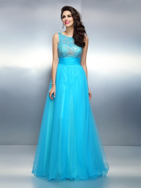 A-Line/Princess Bateau Sleeveless Floor-Length Elastic Woven Satin Dresses with Beading