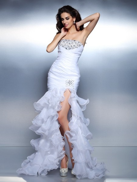 Trumpet/Mermaid Strapless Sleeveless Floor-Length Organza Prom Dresses with Ruched Beading