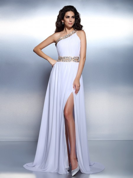 A-Line/Princess One-Shoulder Sleeveless Floor-Length Chiffon Prom/Evening Dresses with Beaded