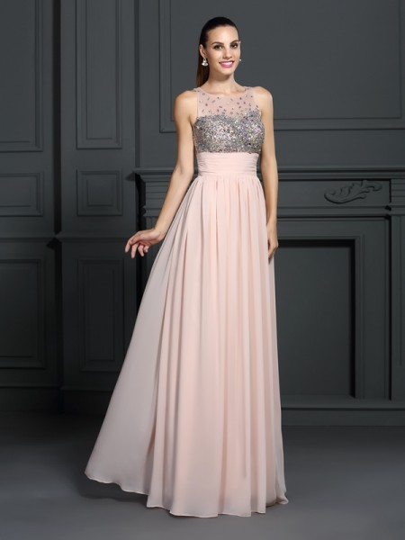 A-Line Bateau Floor-Length Chiffon Formal/Evening/Prom Dresses with Beading