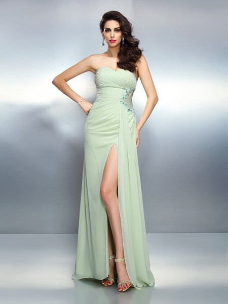A-Line Sweetheart Sleeveless Floor-Length Chiffon Prom/Evening Dresses with Pleats