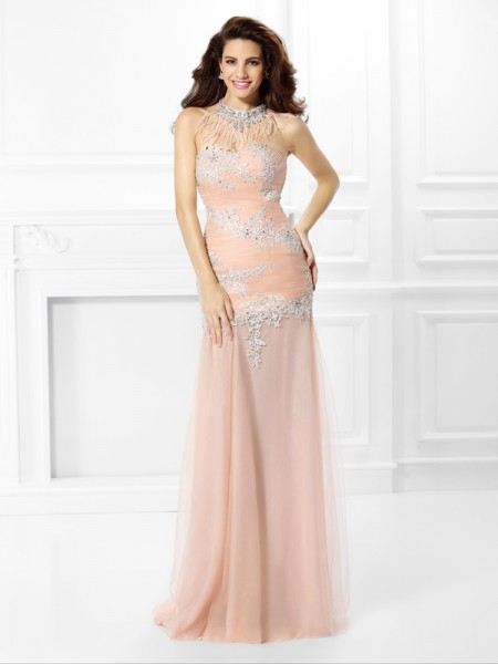 Trumpet/Mermaid Sweetheart Sleeveless Lace Floor-Length Chiffon Dresses with Applique