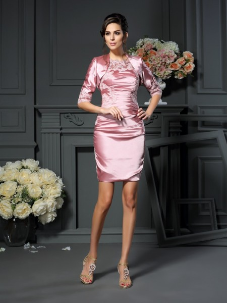 Sheath/Column Scoop Sleeveless Short/Mini Elastic Woven Satin Mother of the Bride Dresses with Applique