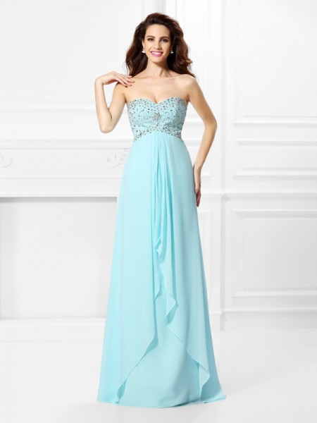 Sweetheart Sleeveless Chiffon Long Prom/Evening Dresses with Beading