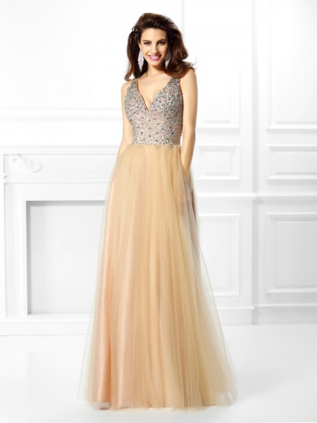 Ball Gown V-neck Sleeveless Sequin Floor-Length Satin Dresses with Beading
