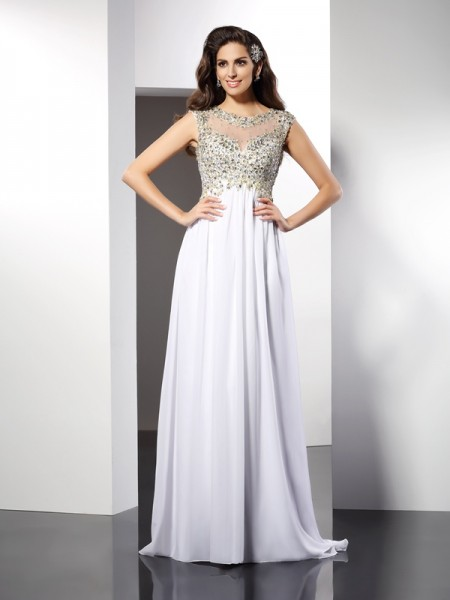 A-Line/Princess Bateau Sleeveless Floor-Length Chiffon Dresses with Ruffles