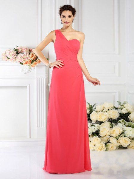 Princess One-Shoulder Chiffon Long Bridesmaid Dresses with Pleats