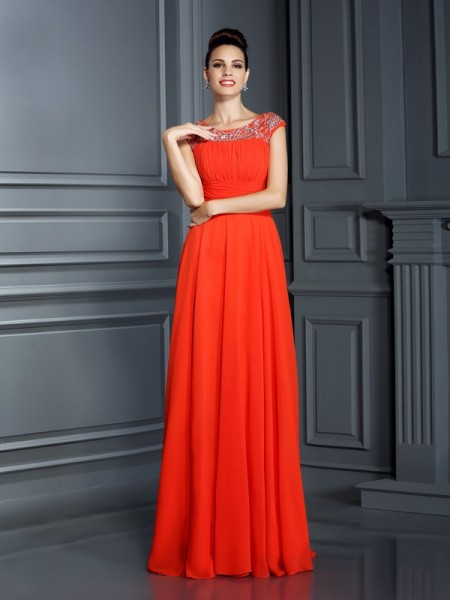 A-Line/Princess Bateau Sleeveless Floor-Length Chiffon Formal/Evening/Prom Dresses with Beading