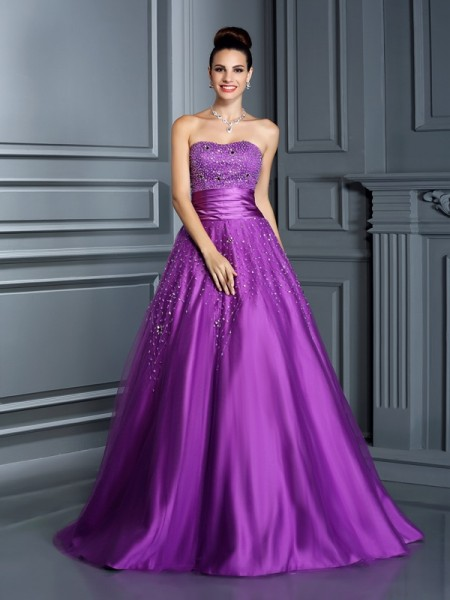 Ball Gown Sweetheart Sleeveless Floor-Length Satin Quinceanera Dresses with Beading