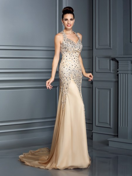 A-Line/Princess Straps Sleeveless Court Train Chiffon Prom/Evening Dresses with Beading