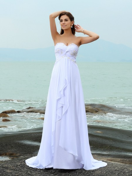 A-Line/Princess Sweetheart Sleeveless Sweep/Brush Train Chiffon Beach Wedding Dresses with Beading