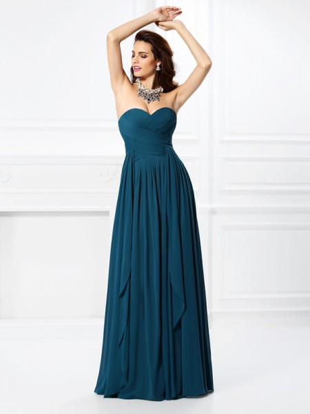 A-Line/Princess Sweetheart Sleeveless  Floor-Length Chiffon Dresses with Pleats Ruffles