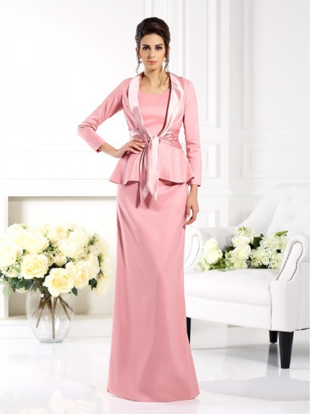 Sheath/Column Square Sleeveless Floor-Length Elastic Woven Satin Mother of the Bride Dresses