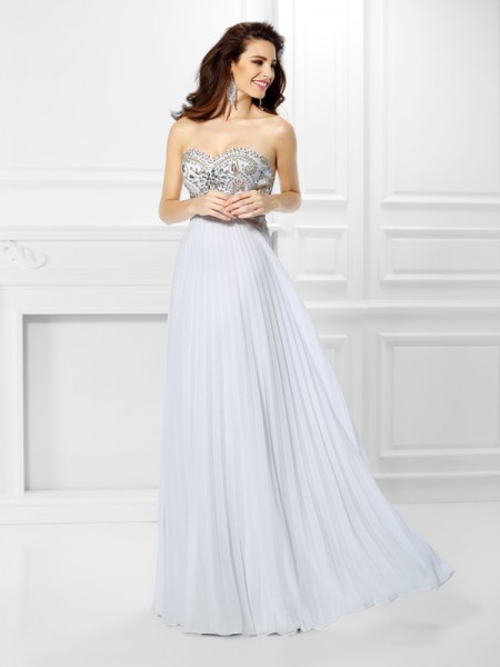Empire Sweetheart Sleeveless Floor-Length Chiffon Dresses with Beading