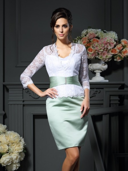 Sheath/Column V-neck 1/2 Sleeves Short/Mini Lace Satin Mother of the Bride Dresses
