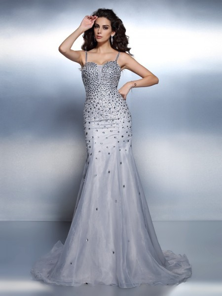 Trumpet/Mermaid Spaghetti Straps Sleeveless Sweep/Brush Train Organza Evening Dresses with Rhinestone
