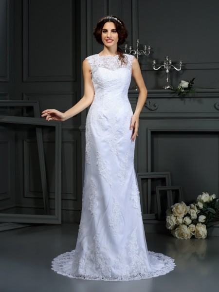Sheath/Column High Neck Sleeveless Court Train Lace Wedding Dresses