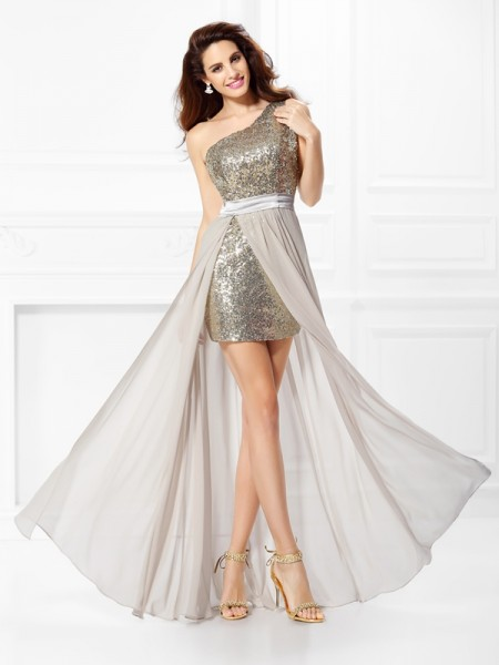 A-Line/Princess One-Shoulder Sleeveless Sequin Floor-Length Chiffon Prom/Evening Dresses