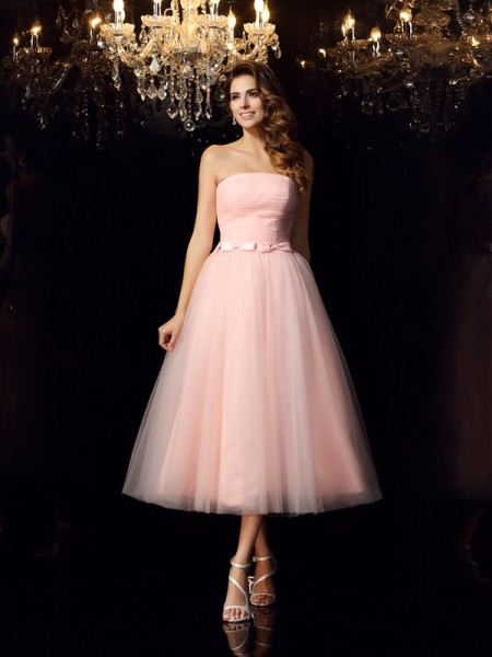 Ball Gown Strapless Satin Sleeveless Tea-Length Prom Dresses with Sash/Ribbon/Belt