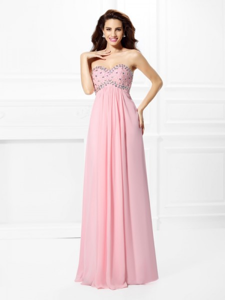 A-Line Sweetheart Sleeveless Floor-Length Chiffon Prom/Formal Dresses with Beading